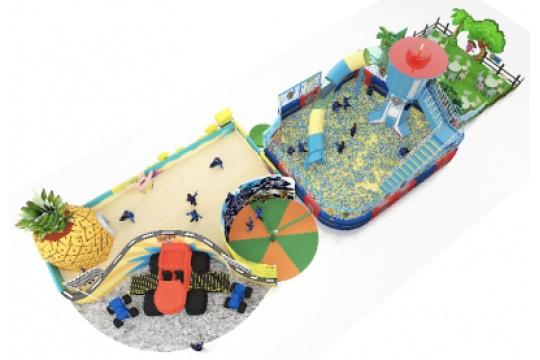 夏日沙滩上,可爱的海绵宝宝为小朋友们堆砌了很多沙堡!