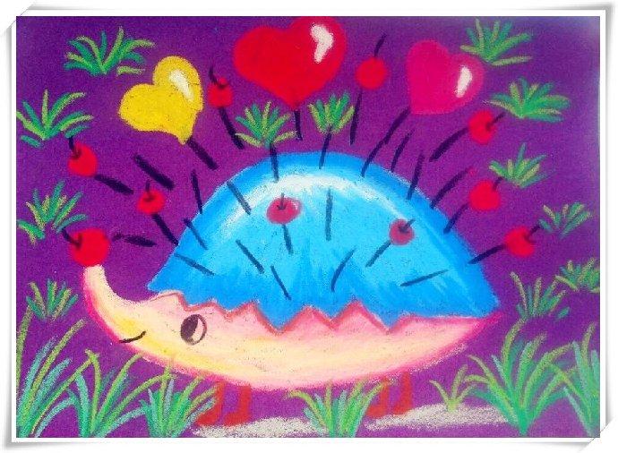 艺术表现手法:砂纸绘画,渐变色的运用      在一条大河里住着