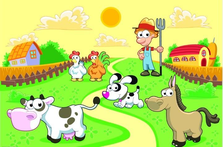 孩子们在我们的迷你农场里学会动物的叫声如何用英语表达